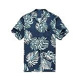 Hawaii Hangover Camisa Hawaiana de los Hombres Camisa Hawaiana S Hojas de Palma en Azul Marino