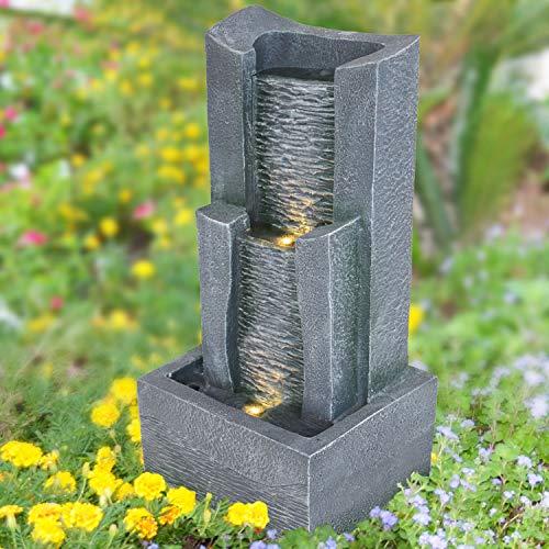 Fuente de jardín de 230 V, 3 niveles, casita de piedra con luz LED, fuente de pájaro, cascada de agua, bomba de agua – juego de agua para jardín, estanque, balcón