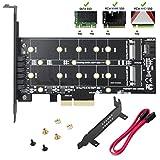 N.ORANIE M.2 PCIeアダプタM.2 NVMe SSD NGFF - PCIeアダプタ、Bキー/Mキー - PCI-e 3.0 x 4ホストコントローラ拡張カード、ロープロファイルブラケット付き、デュアルM2アダプタサポートSSD 22110 2280 2260 2242 2230