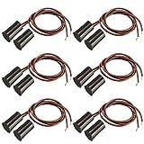 Gebildet 6pcs Cableado Empotrado Puerta Sensor de Contacto,Alarma Interruptor de Láminas Magnético,Sensor de Puerta Magnético,Interruptor Magnético Normalmente Cerrado(Cilíndrica,Marrón)