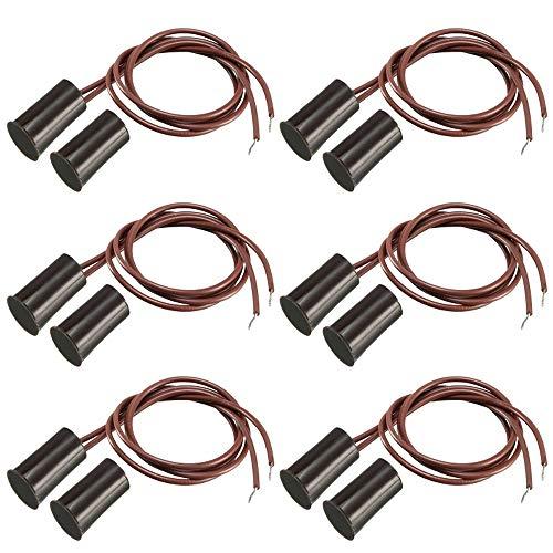Gebildet 6pcs Contatto Cablato Cancello di Sicurezza Sensore di Contatto Finestra Interruttore di Contatto Magnetico,Normalmente Chiuso Sensore Porta Magnetico(Cilindrico,Marrone)