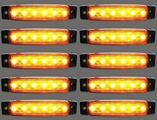 B019DU86NA Lot de 10 feux d'encombrement LED latéraux pour camion remorque Caravane pour DAF Scania Man Ambre 24 V