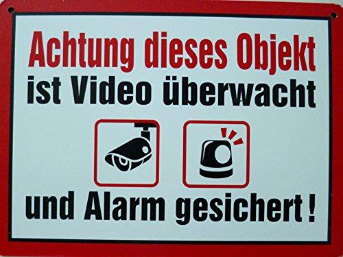 Schild 14x19cm - Achtung Diese Objekt ist Video überwacht und Alarm gesichert Grundpück privat gesperrtWarnung Alu Coupon dipond