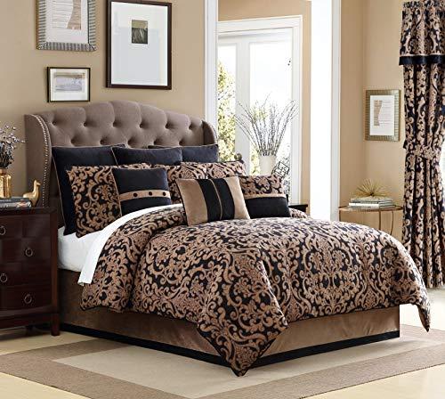 Veratex Chambord 4 Piece, Queen Comforter Set, Black