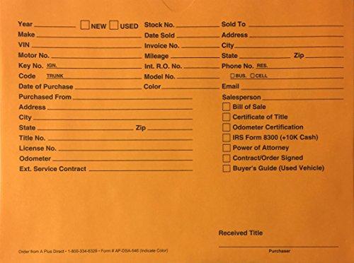 A Plus Auto Dealer Vehicle Paper File Jackets Orange DSA-546, Quantity 100 (U6)