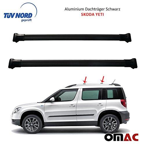 OMAC Alu Dachträger Gepäckträger SCHWARZ Škoda Yeti mit TÜV/ABE