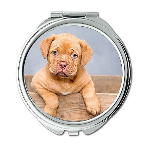 Specchio, specchio compatto, cuccioli Dogue De Bordeaux Sweet Cute Pet, specchio tascabile, specchio portatile