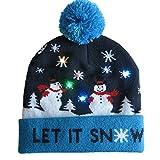 KIKIGOAL LED Multicolor Nevado Snowflake Invierno Navidad Holiday Muñecos de Nieve Gorro
