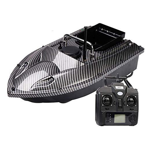 Barco Cebador Pesca RC Señuelo Navegación Navegador Buscador de Peces con Luz de Visión Nocturna LED Motor Doble-Black