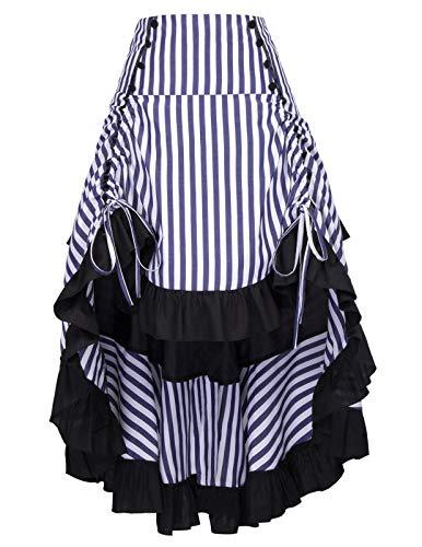 Belle Poque Faldas Gitanas Vintage Negra Encajes Florales Volantes Asimétrica Disfraz XL BP000345-7