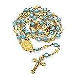 FaithHeart - Ojo Nazar Medalla Religiosa Crucifijo Jesús Rosario Acero Inoxidable Talismán Caja Regalo Dorado Plateado Unisex Mujer Hombre