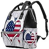 Bolso de pañales Vintage con Bandera Americana de corazón de EE. UU.
