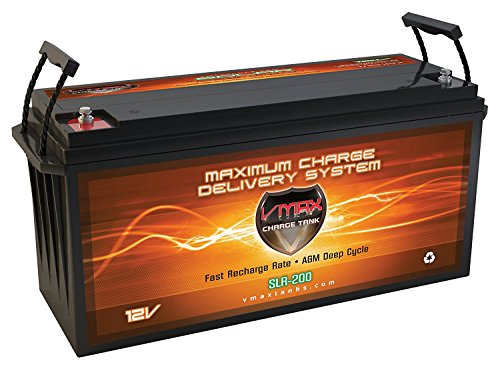 Vmaxtanks VMAXSLR175 AGM deep cycle 12V 175AH Rechargeable battery for Use with PV Solar Panel wind turbine gas or electric power backup generator or smart charger for off grid sump pump lift winch pallet jack and any other heavy duty application