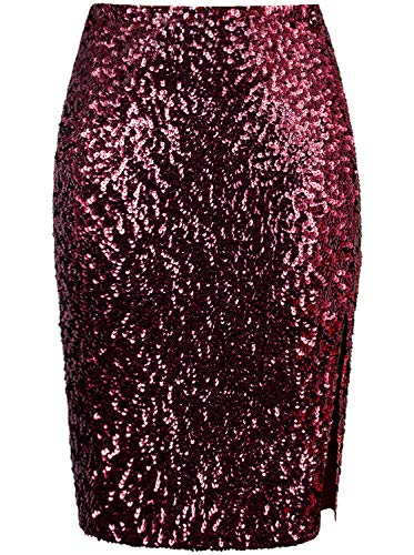 VIJIV Women's Sequin Slit Skirt Midi High Waist Stretchy Sparkle Night Out Pencil Skirts Clubwear Cocktail Burgundy Large