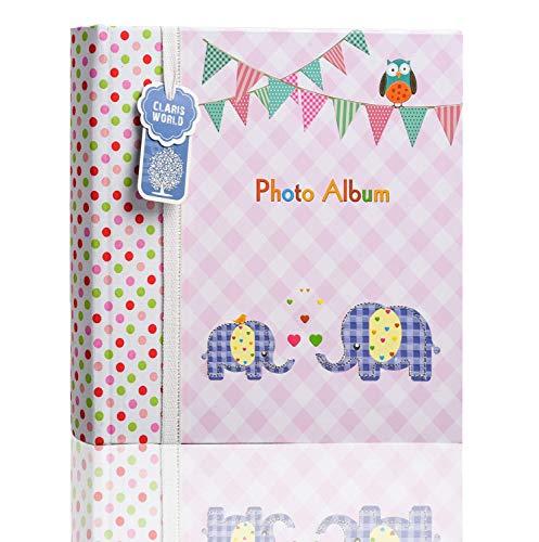 Album fotografico grande, per 200 foto da 15 x 10 cm, con spazio per note, motivo: elefantini, colore: Rosa