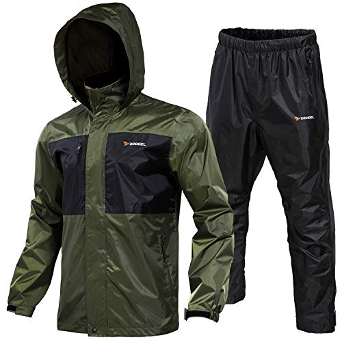 Rodeel Waterproof Fishing Rain Suit for Men (Rain gear Jacket&Trouser Suit), Large, Green