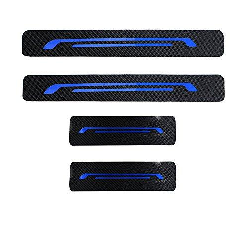 Einstiegsleisten (Set!) Schutzfolie Kohlefaser mit hellen Aufklebern Blau Für Golf 6 7 2008-2018