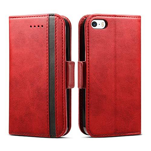 Rssviss iPhone 5 Hülle,iPhone 5s Handyhülle [1 Kartenfächer ] Premium Lederhülle mit Magnetverschluss iPhone 5S Case für iPhone 5/5S/SE,4.0 Zoll,Schwarzer Streifen rot