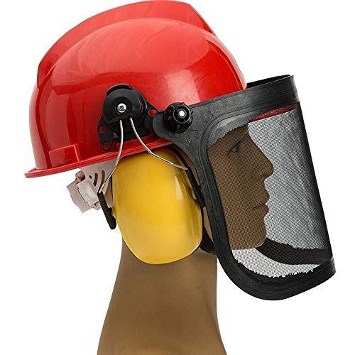 ZBM-ZBM Casco De Seguridad For Motosierra, Accesorios For Cortacésped, Malla De Alambre, Máscara Protectora, Casco, Orejeras, Protector Facial Casco de Seguridad Industrial (Color : Red)