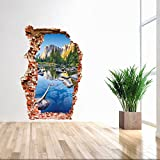 Test-Rite 3D Removable Self-Adhesive Broken Wall Vinyl Wall Sticker/Mural Art Decals Decorator Nursery Kids Birthday Décor Favor Gift (Mountain Spring 3024(23.6'x35.4'/60x90cm))