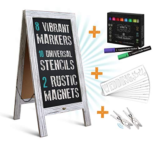 HBCY Creations Rustic Magnetic A-Frame Chalkboard Deluxe Set / 8 Chalk Markers + 10 Stencils + 2 Magnets! Outdoor Sidewalk Chalkboard Sign/Large 40 x 20 Sturdy Sandwich Board (The Deluxe Set)