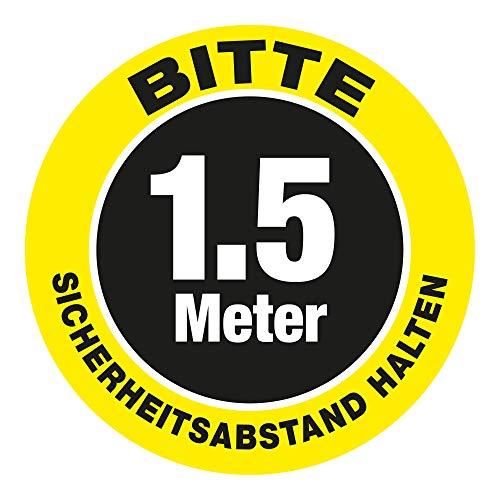 Señal de seguridad para suelo de pared con texto en alemán 'Bitte 1.5 Meter Sicherheits-Abstand halten' (30 x 30 cm), color amarillo