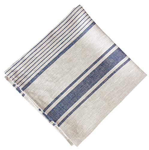 """Natural Linen 100% Flax Bath Towel. Best Quick-Dry Lightweight Towel for Sports, Travel, Beach, Pool 28"""" X 58"""". (Grey Blue-Stripes)"""