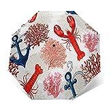 Mini paraguas compacto y pequeño, automático, hermoso corales de langosta tropical, para viajes marinos, plegable, paraguas portátil, plegable, con protección UV para sol, lluvia, mujeres y hombres