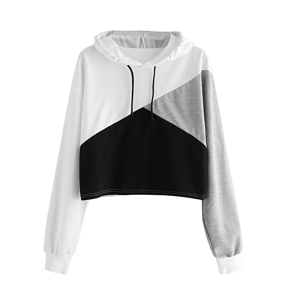 Vicbovo Cropped Hoodie, Women Teen Girl Fashion Color Block Long Sleeve Hooded Crop Tops Sweatshirt Loose Pullover Shirts