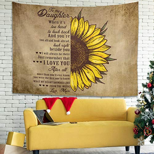 to My Daughter Sunflower Love New launched Tapestry Wall Hanging Bedspread with Romantic Pictures Art Nature Home Decorations Dorm Decor for Bedroom Dorm Decor White 59x51 inch