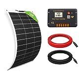 ECO-WORTHY Kit Solar 130W 12V: 1 Panel Solar Flexible 130W + 1 Controlador de Carga 20A + Accesorios de Montaje para Caravana, RV, Barco, Marina, Aplicación Fuera de la Red