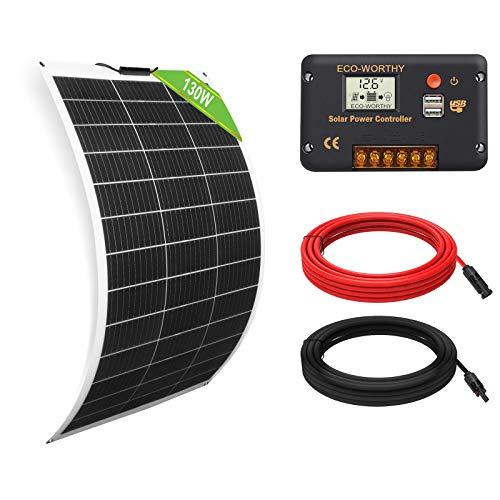 ECO-WORTHY 130 Watt 12 Volt flexibles Solarpanel Kit netzunabhängig Off Grid: 130W Solarpanel + 20A LCD-Display PWM-Laderegler + 5m Solarkabel für Wohnwagen, Wohnmobil, Boot, Kabine, Anhänger