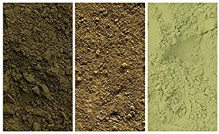 The GREEN Collection - Pack of 3 Natural Mineral Pigment Pack (150 ml 5OZ EA): Light Green Umber Germany   Green Umber Ita...