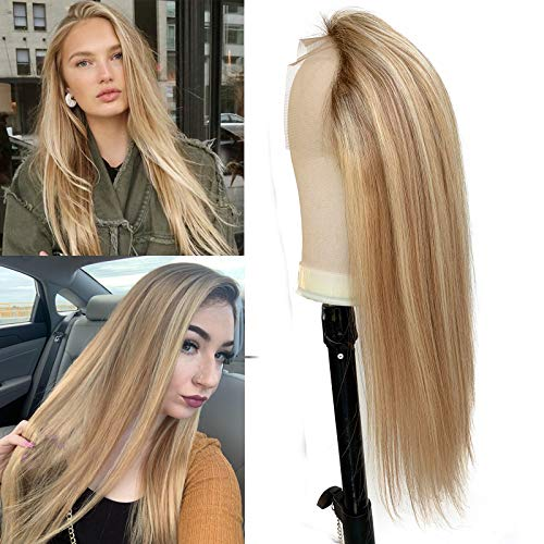 Highlight Lace Front Wigs Brown Rooted Human Hair Wigs for Black/White Women 16 Inch Long Straight Brown with Blonde Highlights 13x1 Glueless Lace Wigs Pre Plucked with Baby Hair