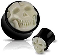 Hand Caved Bone Inlay and Double Flared Buffalo Horn Plug Gauges Organic Saddle Fit Sold as Pairs- Skull Piercing Jewelry (BP-159-19MM)