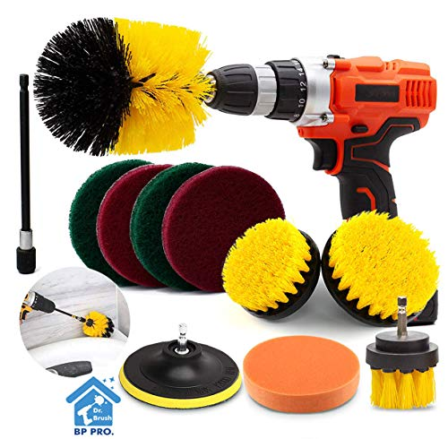 Drill Brush Attachment Set Scrub Brush Power Scrubber Drill Brush Kit11 Pieces Scouring Pad All Purpose Cleaning Kit for Bathroom Toilet Grout Floor Tub Shower Tile Auto Sinks Kitchen