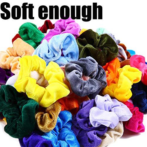 Hair Scrunchies Velvet Silk Chiffron Flower Hair Scrunchies for Women or Girls Hair Accessories |30Velvet Hair Scrunchies+20Satin Hair Scrunchies+16 Chiffron Flower Scrunchies 4