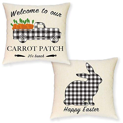 JYNHOOR Set of 2 Easter Throw Pillow Covers –Farmhouse Buffalo Plaid Bunny/Rabbit Carrot Truck Decorative Pillow Cover for Easter Decor-Cushion Cover Decoration,18x18 inches