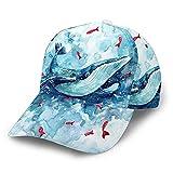 Yearinspace Gorra de béisbol para hombre y mujer, diseño de peces de océano, color rojo, acuario, azul, ajustable, gorra de béisbol, unisex