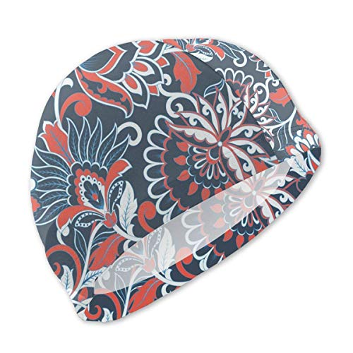 HFHY Fleurs de Bonnet de Bain de Style rétro pour Enfants, Bonnet de Bain personnalisé en Polyester