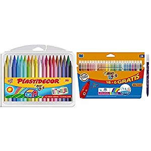 BIC Kids Plastidecor – Estuche de 36 unidades + Kids Kid Couleur rotuladores punta media – surtidos, Caja de 18+6…