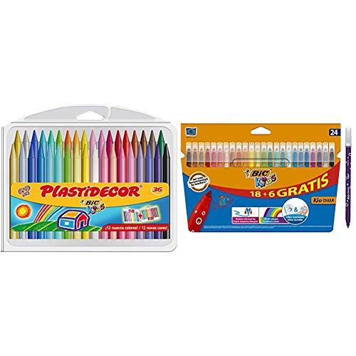 BIC Kids Plastidecor - Estuche de 36 unidades + Kids Kid Couleur rotuladores punta media - surtidos, Caja de 18+6 – paquete de rotuladores lavables para niños