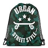Jhonangel Street and Urban Style Gym Sack Bag Mochila con cordón Mochila Deportiva para Hombres y Mujeres Mochila de Viaje Escolar 36 x 43cm / 14.2 x 16.9 Pulgadas