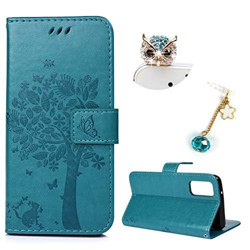 SOONSOP Wallet Case für Samsung Galaxy S11E Lederhülle PU Leder Cover S20 Flipcase Bookstyle Handyhülle Folio Schutzhülle TPU Handytasche Klapptasche Schale Brieftasche Cover in Großer Blauer Baum