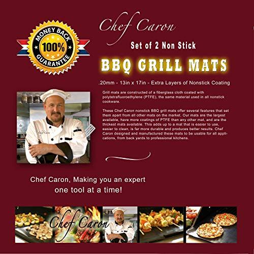 Chef Caron Non Stick BBQ Grill Mats - Set of 2