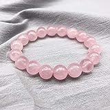 AITU braccialetto Quarzo Rosa Cristallo Polvere Quarzo Pietra Naturale Bracciale streche Cordino Elastico Perline Gioielli pulserase Donna, Perline 6mm
