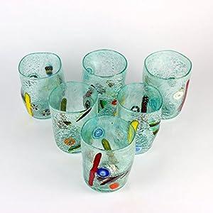 """Vaso hecho a mano Copas de bebidas """"Goto en original de cristal de Murano, Set"""