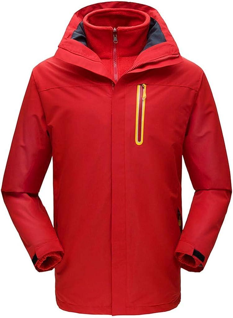 AKIMPE Men's Windbreaker Jacket Zip up Hooded Ski Stand Collar Snowboard Raincoats Slim Trench Coats