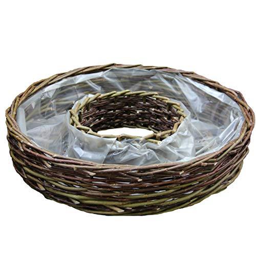 Krenz Pflanzring aus ungeschälter grober Weide | mit Folie ausgelegt | Durchmesser 50 cm