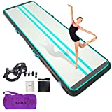 HIJOFUN Premium Air Mat Track 16ftx6.6ftx8in Gymnastics Training Mat Inflatable Tumble Track with Electric Air Pump for Home Kids,Gym,Yoga,Training,Cheerleading,Outdoor,Beach,Park Green